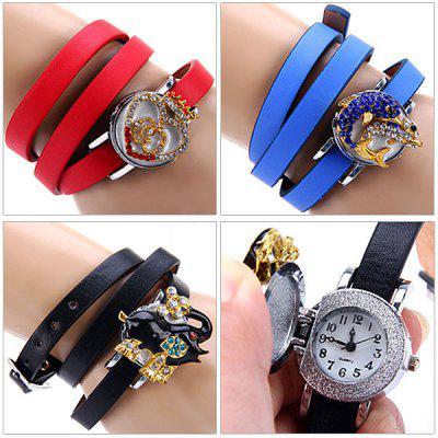 Women Flip Quartz Watch Diamond Leather Wristband Round Dial