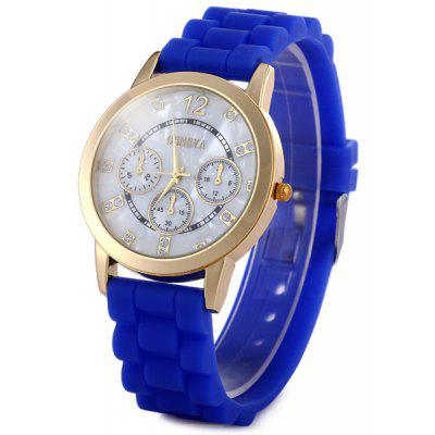 Geneva Women Quartz Watch Shell Dial Face Diamond Round Dial Rubber Strap