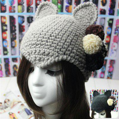 Cat Ears Style Knitted Hat with Knitting Ball