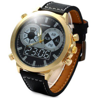 SHIWEIBAO A1052 Quartz Watch Leather Band Round Dial for Men