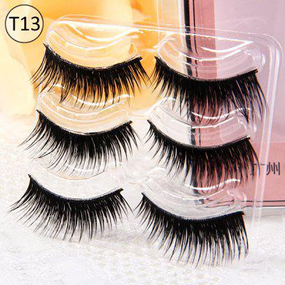 3 Pairs Shidi Shangpin Thick False Eyelash Makeup for Women  -  Type T13