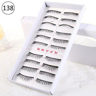 10 Pairs Three Tree Manual Thick False Eyelash Makeup for Women  -  Type 138