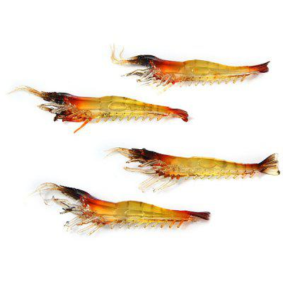 Yoshikawa 4Pcs Durable Fishing Bait Shrimp Softlure Artificial Lure  -  100mm 4.1g