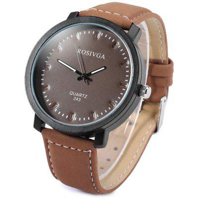 Rosivga 243 Men Quartz Watch Leather Strap Round Dial