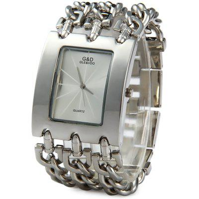 GND Quartz Chain Watch Stainless Steel Body Rectangle Dial for Men
