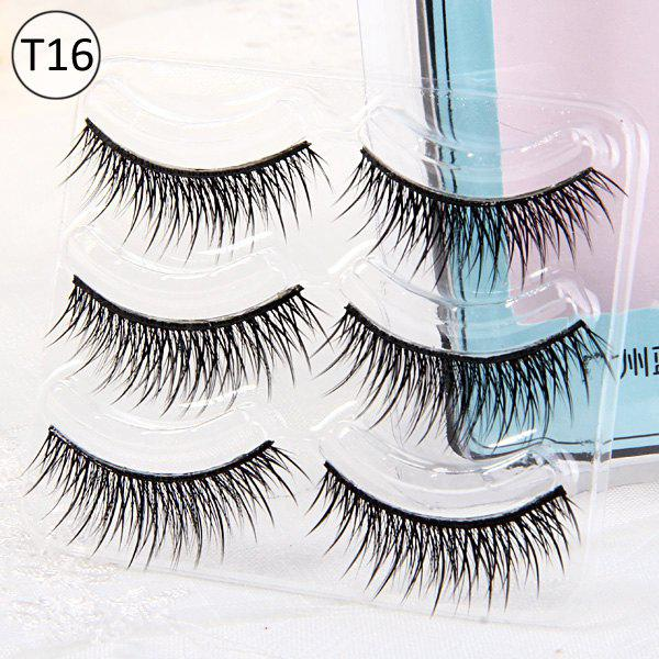 3 Pairs Shidi Shangpin Cross False Eyelash Makeup for Women - Type T16