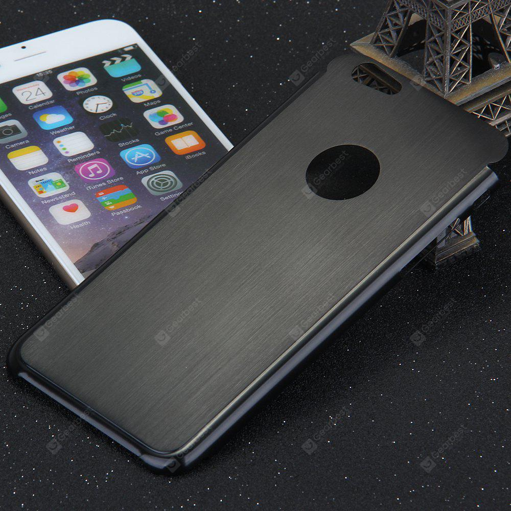 BLACK Brushed Back Cover Case with Solid Color Logo Hole Style for iPhone 6 4.7 inches