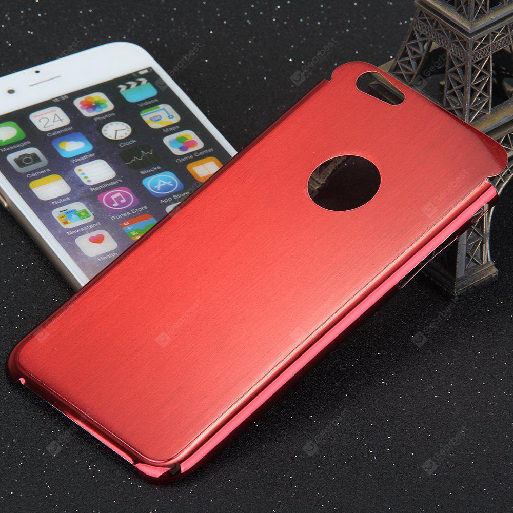 RED Brushed Back Cover Case with Solid Color Logo Hole Style for iPhone 6 4.7 inches