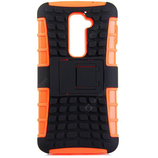 ORANGE Practical Tyre Texture TPU and PC Back Case Cover with Stand for LG Optimus G2