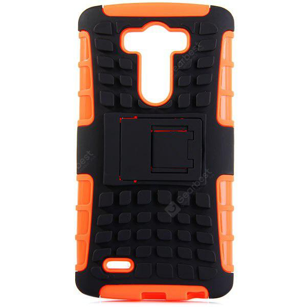 ORANGE Practical Tyre Texture TPU and PC Back Case Cover with Stand for LG Optimus G3