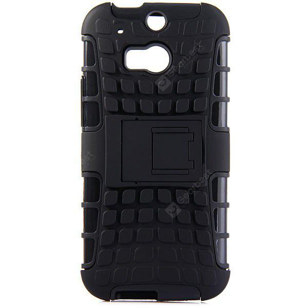 BLACK Practical Tyre Texture TPU and PC Back Case Cover with Stand for HTC M8