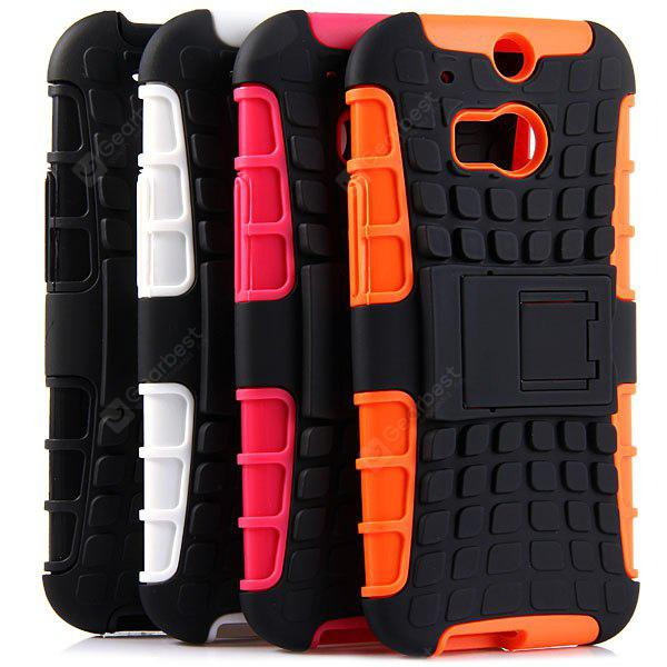 ORANGE Practical Tyre Texture TPU and PC Back Case Cover with Stand for HTC M8