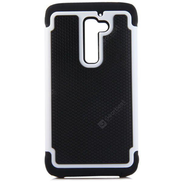 WHITE Practical Football Texture Silicone and PC Back Case Cover for LG Optimus G2