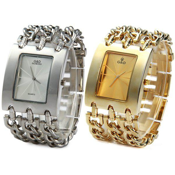 GOLDEN GND Quartz Chain Watch Stainless Steel Body Rectangle Dial for Men