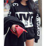 cheap Fashionable Jewel Neck Letter Print Long Sleeve Women's Sweatshirt