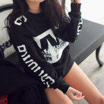 Fashionable Jewel Neck Letter Print Long Sleeve Women's Sweatshirt deal