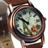 Retro Quartz Watch Round Dial Cloth + Leahter Strap for Ladies - BROWN