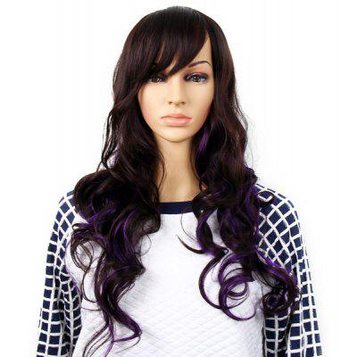 Highlight Women Curly Long Hair Periwig Hairpiece Wig with Fringe  -  Dark Brown and Purple