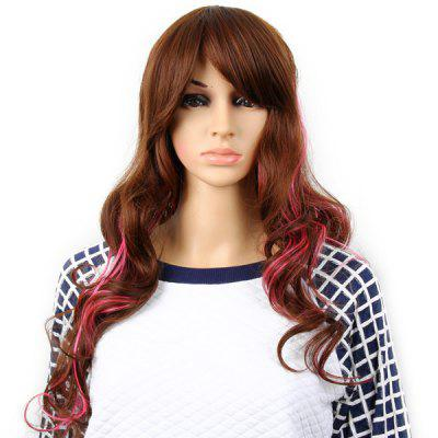 Highlight Women Curly Long Hair Periwig Hairpiece Wig with Fringe  -  Brown and Pink