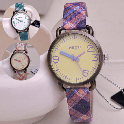 Kezzi KJ716 Retro Stripe PU Strap Women Quartz Wristwatch