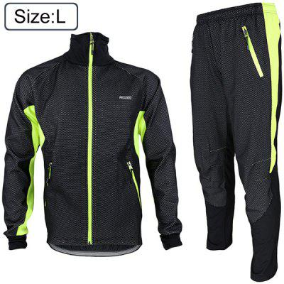 Arsuxeo 14A Men Cycling Racing Suit Fleeces Jacket Pants Kit Long Sleeve Bike Bicycle Outdoor Running Clothes