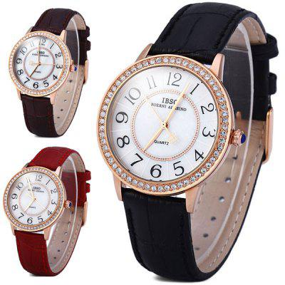 IBSO 3812 Shell Dial Leather Band Male Diamond Quartz Watch Simple Round Dial