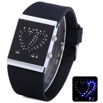 Double Heart LED Sports Watch Date Rubber Strap for Men ...