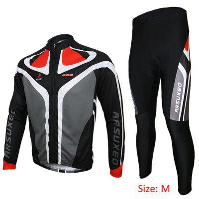 Arsuxeo C02 Men Cycling Suit Jersey Jacket Pants Kit Long Sleeve Bike Bicycle Outdoor Running Clothes