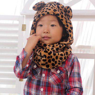 Leopard Print Design Soft Coral Fleece Plush Neck Ear Protection Bomber Hat / Cap with Scarf