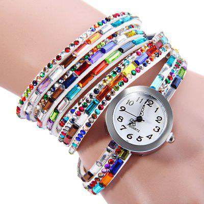 Colorful Diamond Long Band Female Quartz Watch
