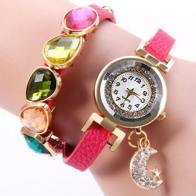 Starmoon Pandent Female Quartz Watch Colorful Diamond Long Band