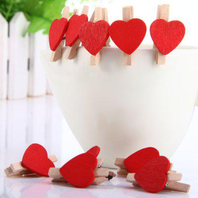 10Pcs Fashionable Red Heart Design Wooden Clip Novel Decors