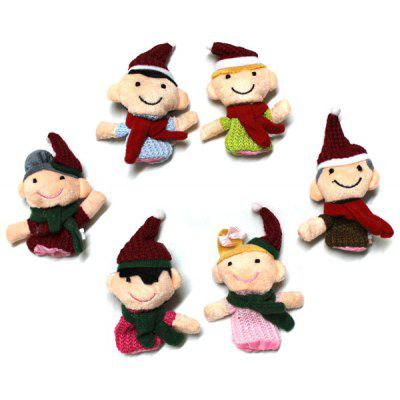 6pcs Happy Family Finger Puppets Story Bonitinho pano de pano Baby Educational Toy