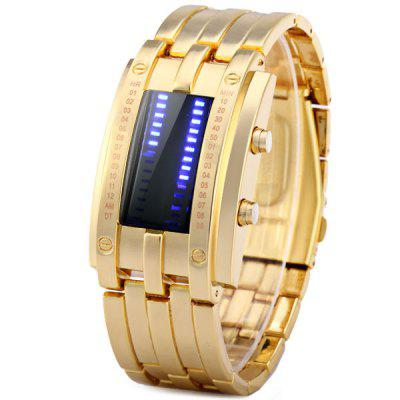 LED Watch Date Display Golden Bracelet Stainless Steel Body