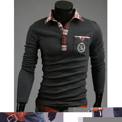 Stylish Shirt Collar Slimming Pocket Design Long Sleeve Polyester Polo Shirt For Men