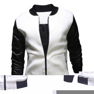 Stylish Stand Collar Slimming Large Pocket Zipper Design Long Sleeve Polyester Jacket For Men