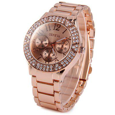 Geneva Diamond Female Quartz Watch Decorative Sub - dials Stainless Steel Watchband