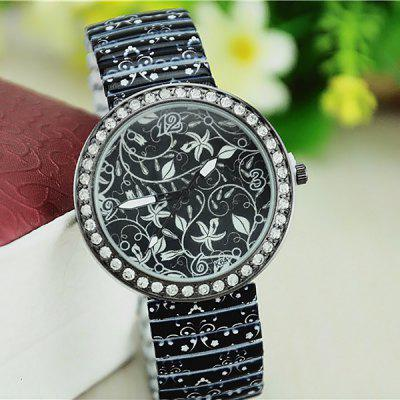Steel Elastic Strap Diamond Bezel Analog Quartz Watch for Ladies
