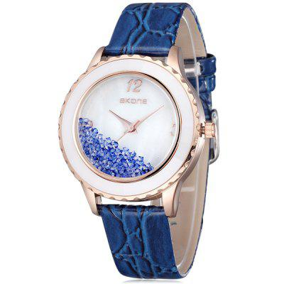Skone 9324 Women Rolling Diamond Quartz Watch Japan Movt Leather Band