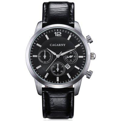 Cagarny 6832 Male Quartz Watch Date Display Round Dial Leather Wristband