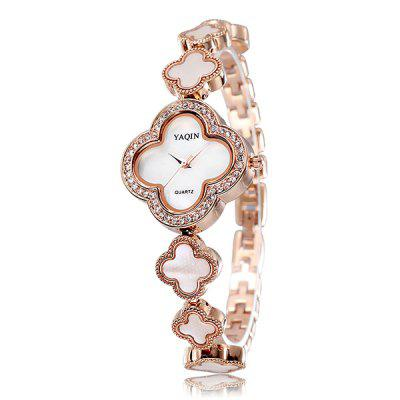 YaQin Shiny Diamond Japan Quartz Watch Bracelet Alloy Body Flower Dial for Ladies