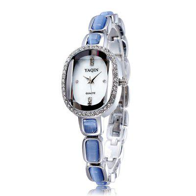 YaQin Diamond Japan Quartz Watch Bracelet Alloy Body Rectangel Dial for Ladies Women