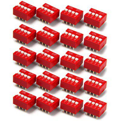 Multifunctional 4 Position 8Pin 2.54mm Pitch DIP Switch for DIY Project  -  20PCS