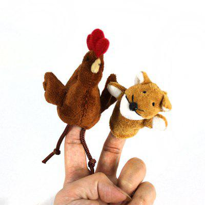 2Pcs Stylish Plush Toy Finger Puppets for Telling Story Supplies Fox + Chicken Plush Doll