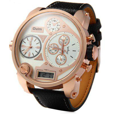 Oulm 9316B Men 3 - Movt Japan Quartz Watch Leather Band Analog LED Digital Round Dial