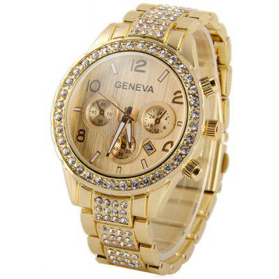 Buy GOLDEN Geneva Stainless Steel Body Diamond Quartz Watch Decorative Sub dials Date for Women for $9.28 in GearBest store