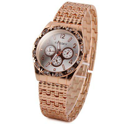 Kingsky Women Diamond Quartz Watch Decorative Sub - dials Stainless Steel Strap