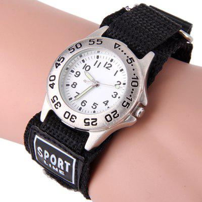 Kids Quartz Watch Rotatable Bezel Luminous Round Dial Velcro Nylon Wristband