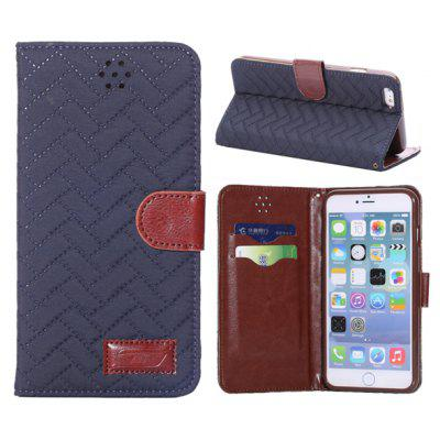 5.5 inch PU + TPU Cover Grid Texture Case Skin with Card Holder Stand Function for iPhone 6 Plus