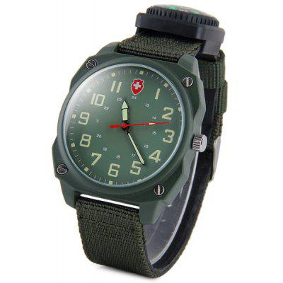 Time Compass Male Quartz Watch Canvas Strap Round Dial for Men